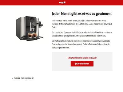 Deutsche Bahn AG: Jura E8 Kaffeevollautomat gewinnen